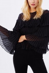 Black Ruffle Layered Pleated  Blouse