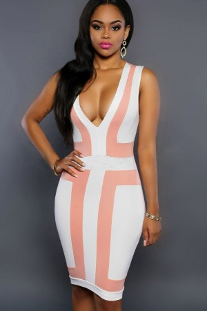 Pink Two Tone Plunge V Neck Sleeveless Bodycon Dress
