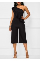 Flouncing Solid Black One Shoulder Jumpsuit