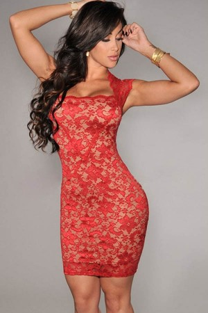 Red Crochet Lace Square Neck Sleeveless Bodycon Dress
