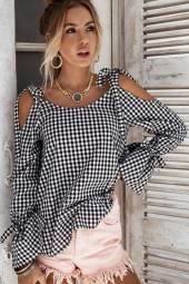 Black White Plaid  Cold Shoulder Flare Sleeve Chic Blouse