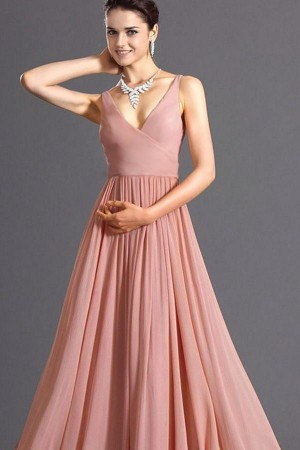 Pink Spaghetti Straps Pleated Wrap Zipper  Maxi Party Dress