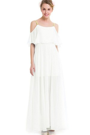 White Cold Shoulder Ruffles Backless Pleated  Maxi Chiffon Dress