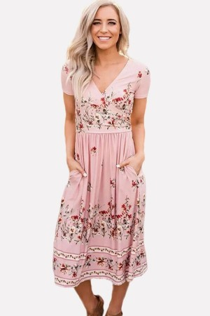 Pink Floral  Pocket Casual Midi A Line Dress