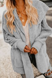 Light-gray Faux Fur Long Sleeve Hoodie Open Front Casual Coat