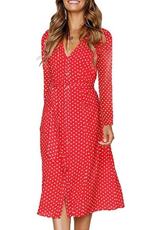 Red Polka Dot Button Up Tied Long Sleeve Casual A Line Dress