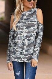 Gray Camo  Cold Shoulder Long Sleeve Casual T Shirt