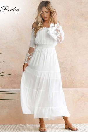 Summer Sundress White Beach Dress Strapless Long Sleeve Loose Off Shoulder Lace Boho Chiffon Maxi Dress