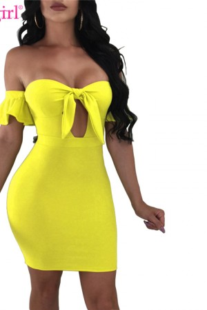 Plus Size Off The Shoulder Bodycon Summer Dress Lace Up Strapless Keyhole Bandage Mini Party Dress Club Wear