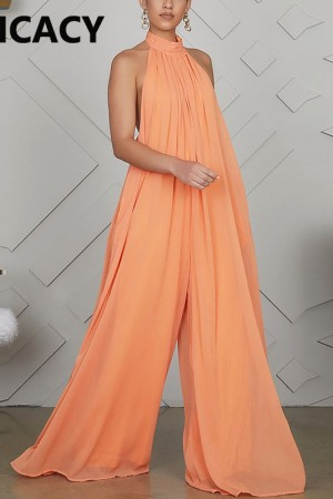 Chiffon Halter Backless Jumpsuits Loose Style Long Overalls Elegant Party Club Jumpsuit