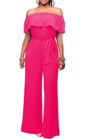 Fuchsia Off Shoulder Ruffles Casual Jumpsuit