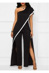 Double Slit One Shoulder Black Jumpsuit