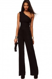 Black One Shoulder Chic Jumpsuit