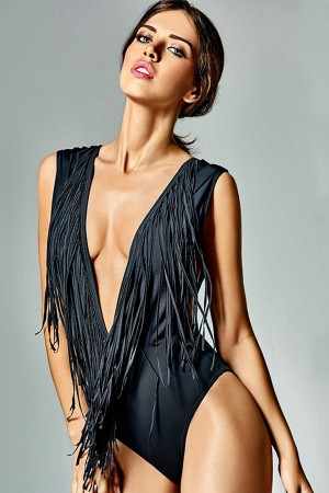 Black Plunging V Neck Fringed  One Piece Swimsuit