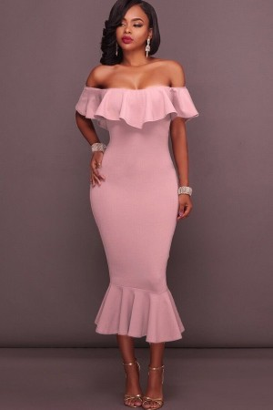 Pink Off Shoulder Ruffled  Mermaid Midi Party Dress