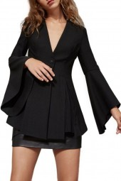 Black Plunging One Button Slit Side Flare Sleeve Chic Blazer