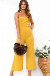 Yellow Spaghetti Straps Zipper Wide Leg Casual Jumpsuit