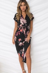 Black Floral Tied Waist Slit V Neck Casual A Line Dress