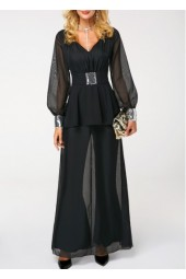 Lantern Sleeve V Neck Sequin Embellished Jumpsuit
