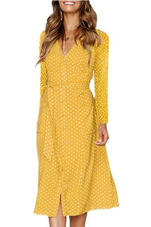 Yellow Polka Dot Button Up Tied Long Sleeve Casual A Line Dress