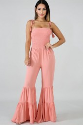 Pink Shirred Tassels Ruffles Flared Hem Casual Jumpsuit