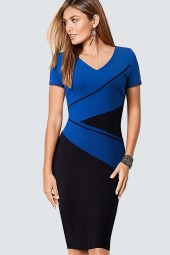 Plus Size Casual Contract Colorblock Lady Dress Women Classic Neck Work Office Business Sheath Bodycon Pencil Dress Hb