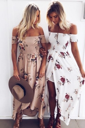 Summer Dress Vestido Beach Floral Off The Shoulder Long White Chiffon Boho Maxi Dress Plus Size