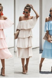 Ruffled Strapless Layered Solid Color Dress Summer