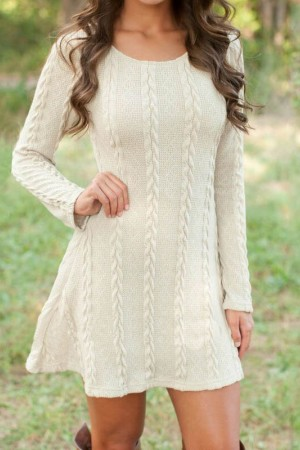 Autumn Winter Causal Short Sweater Dress Long Sleeve Loose Sweaters Knitted Color Plus Size Dress