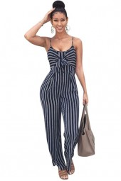 Elegant Striped Spaghetti Strap Rompers Jumpsuit Sleeveless Backlessbow Casual Wide Legs Jumpsuits Leotard Overalls