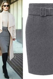 Autumn Winter Cotton Plus Size High Waist Saias Casual Midi Pencil Skirt Skirts