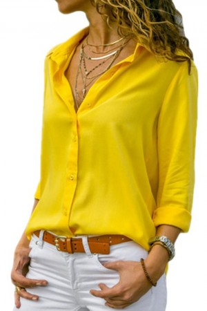 Yellow Chiffon Blouse Autumn Long Sleeve Button Asymmetrical Shirt Work Wear Shirt Blouse Plus Size Wdc
