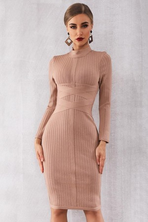 Est Autumn Celebrity Evening Party Bodycon Bandage Long Sleeve Oneck Elegant Night Out Vestidos