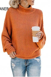 Turtleneck Sweater Solid Casual Knitted Pullovers Warm Oversize Sweaters Tops