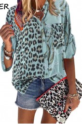 Blouse Sping Tops Turndown Collar Long Sleeve Leopard Shirt Loose Plus Size Blouses