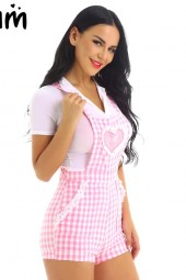 Adult Cute Abdl Baby Patch Crisscross Back Gingham Babydoll Short Overalls Shortalls Jumpsuits
