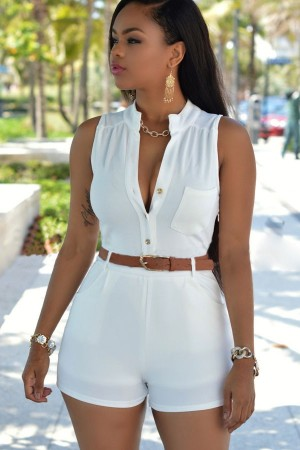 White Button Up Pocket Accent Waistband Chic Romper