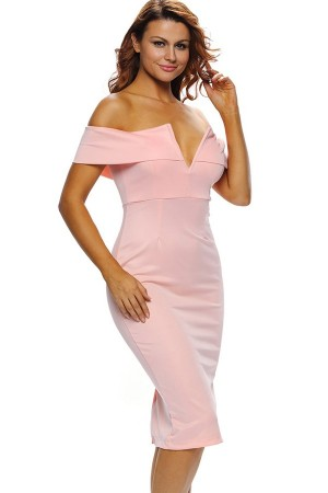 Pink Off Shoulder V Neck  Party Dress