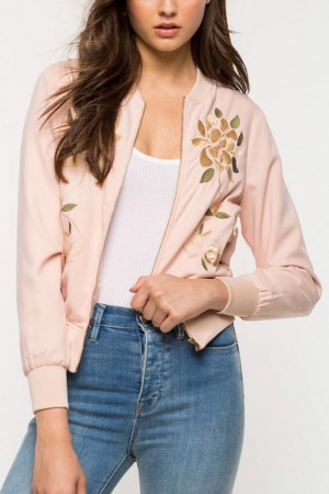 Pink Floral Embroidery Zipper Up Sweet Jacket