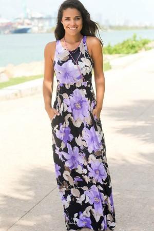 Light Purple Floral  Sleeveless Racer Back Casual Maxi Dress