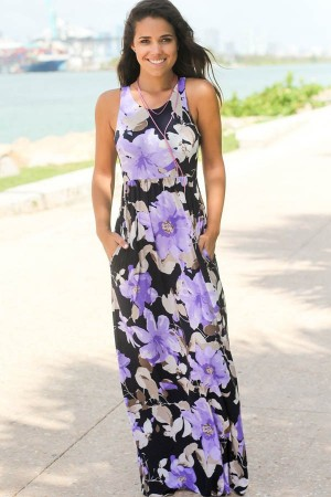 Light Purple Floral  Sleeveless Racer Back Casual Maxi Dress
