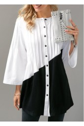 Button Up Pintuck Color Block Blouse
