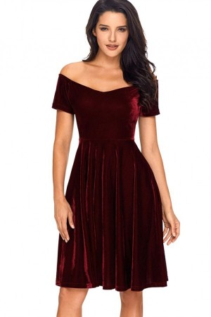 Dark Red Burgundy Off Shoulder Pleated Short Sleeve Velvet A Line Party Dress