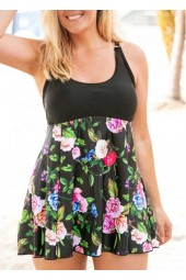 Plus Size Flower  Scoop Back Swimdress and Shorts