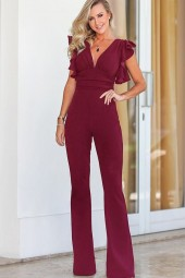 Dark-red Plunging Ruffles Trim Ruched Zipper  Jumpsuit