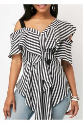 Striped Asymmetric Hem Zipper Back Blouse