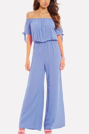 Light-blue Short Sleeve Off Shoulder  Wide Leg Jumpsuit