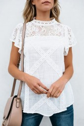 White Lace Crochet Short Sleeve Mock Neck Casual Blouse