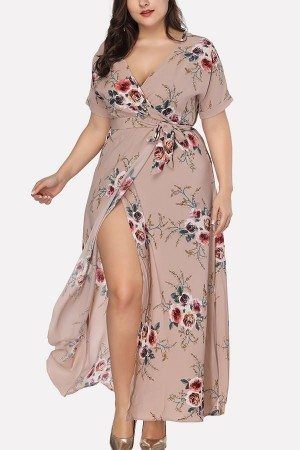 Khaki Floral V Neck Wrap Slit Short Sleeve Casual Maxi Plus Size Dress