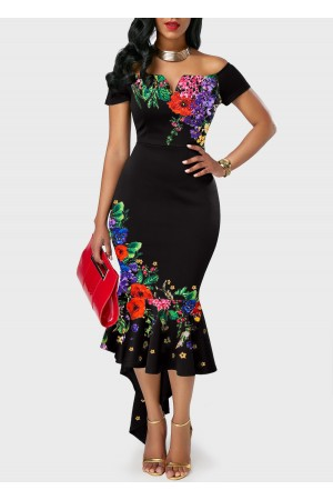 Off the Shoulder Retro Flower  Black Sheath Dress